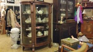 Bow Front Solid wood China Cabinet 1800's reg 900 SALE $699.99 pre Cabin Strathroy Antique MAll