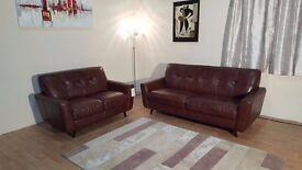 Ex-display Camper chestnut brown leather 3+2 seater sofas