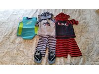 12-24 Months Wetsuit, 2 Sun Suits with hats and Size 5 swim footwear