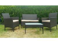 NEW Rattan garden furniture set comes with 2 single chairs double sofa coffee table.