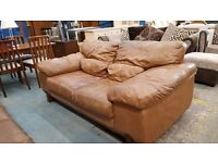 Large tan leather brown 2 and 3 seater sofa set