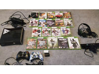 XBOX 360 CONSOLE, KINECT, 2 CONTROLLERS, HEADPHONE & GAMES