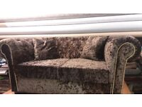 Brand New Chocolate Crushed Velvet Chesterfield Sofa 2 Seater (1year warrenty)