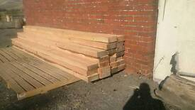 Landscaping larch timber sleeper style beams