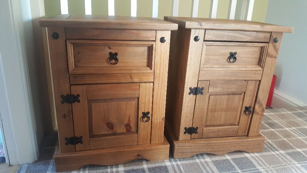 Pair of corona bedside tables mexican pine bedroom furniture in pickering north yorkshire for Mexican pine bedroom furniture