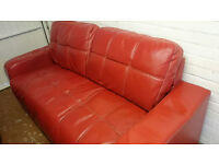 Lovely 3 seater sofa. Red leather
