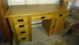 Rustic Solid Oak Computer Desk inc. Leather Chair