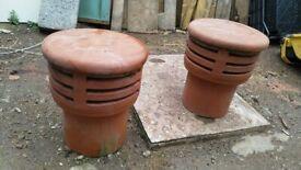 Clay chimney pot cap - 2no.
