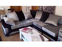 BRAND NEW CRUSH VELVET CORNER SOFA - RIGHT HAND CHAISE - TO GO AT 550. CAN VIEW