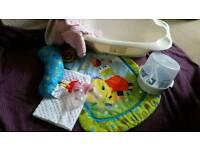 Baby play mat,bottles,bath,microwave steriliser,blanket,pram suit