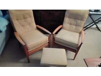 Armchair and foot stool set