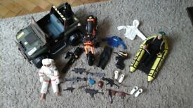 2 Action men figures and 3 vehicles plus accessories