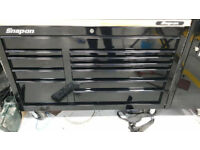 "Snap on 54"" Classic all Gloss Black Roll cab TOOLBOX 24"" Deep with butchers block & Protective mat"