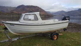 Orkney Costliner 14 foot boat with 25hp Mercury electric start engine