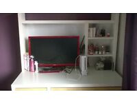 Ikea white desk with shelf unit and swivel chair