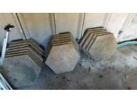 18x patio slabs. 520mm w x 35mm d.