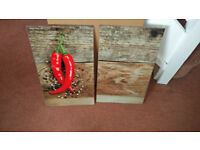 Set of 2 Glass Chopping Cutting Board Induction Ceramic Hob Cover Worktop Saver Red Chillies
