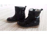 Girls Black Painten Next Boots
