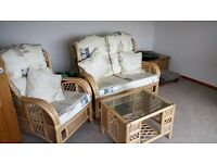 Wicker chair sofa and table