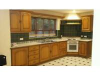 Real Oak kitchen units , sink, worktops, hob and oven