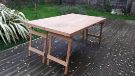 Double width folding pasting table