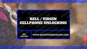 BELL / VIRGIN UNLOCKING SERVICE --- APPLE,BLACKBERRY, HTC, LG, MOTOROLA, NOKIA, SAMSUNG, SONY