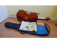 Cello with bow, soft case and cello and piano books