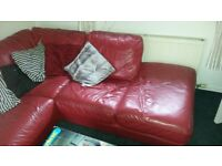 Red leather corner sofa, and chair ex DFS