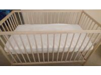 Beech cot - perfect condition as only used a few months