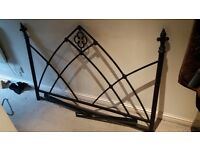 Black metal double headboard - McIntosh style gothic vintage floral classy style