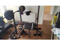Adjustable Weights Bench + Weights + Accessories(Lat Pulldown, Pec Fly, Preacher, Leg Exension)