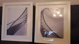 Pair of framed stairway pictures for sale