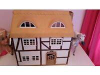 Sylvanian family farm house with lots of animals and furniture