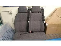 Double seat with intregrated seat belts in dark grey ideal for camper or van conversion