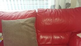 2and 3 sofas in red leather
