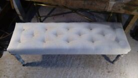 long linen upholstered bench with tufted buttons painted distressed antique legs surrey