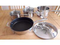 Saucepans 3 pc and seperate frypan set -Stellar