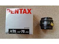 Pentax A35-70mm, F3.5-4.5 Zoom Lens
