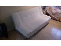 Cream Three Seater Sofa Bed