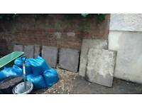 8 mixed solid old concrete paving slabs