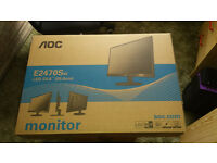 AOC computer monitor, black, 24-inch screen