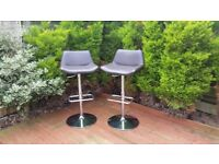 2 brown leather high bar stools/chairs with steel legs+feet support for kitchen/dining room, garden