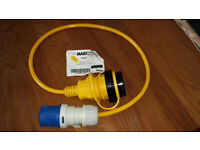 Marinco 16Amp pigtail - Marinco 16A socket to normal 3 pin 16A caravan type plug - new