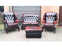 Chesterfield oxblood leather 4 piece suite. EXCELLENT CONDITION!BARGAIN!