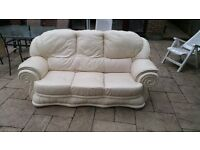 Bargain- Cream leather 3 seater sofa