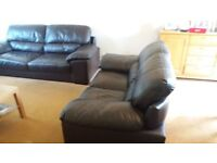 For sale 3 & 2 seater matching sofas in brown leather