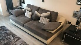 Raphael 3 & 2 Seater Grey & Cream sofas with storage footstool