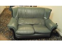 Green leather sofas £30 each or 2 for £50
