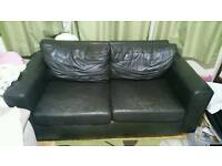 3 seater sofa black/dark brown FREE