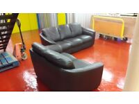 Real leather 3 & 2 seater sofas **£199 free delivery ** good condition